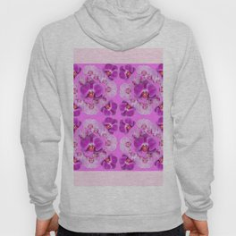 Pink Color Abstracted Modern Purple Moth Orchids Hoody