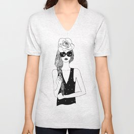 Beautiful girl. Black and white fashion illustration Unisex V-Neck