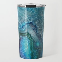 Aqua Turquoise Crystal Mineral Gem Agate Travel Mug