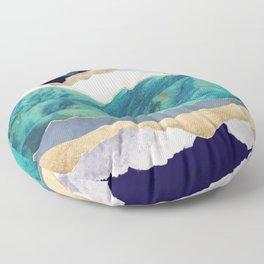 Teal Mountains Floor Pillow