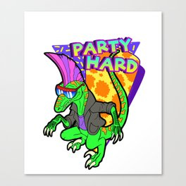 Party Hard Dinosaur 3 - Tanzen Canvas Print