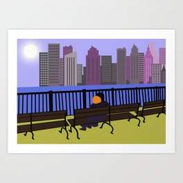 Couple in front of a skyline panorama Art Print
