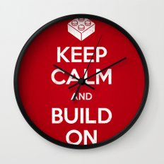 Keep Calm and Build On Wall Clock
