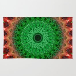 Red and bright green mandala Rug