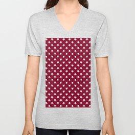 White on Burgundy Red Stars Unisex V-Neck