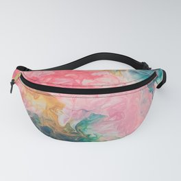 Pink and teal abstract floral Fanny Pack