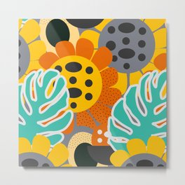 Sunflowers and leaves Metal Print