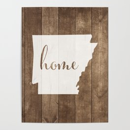 Arkansas is Home - White on Wood Poster