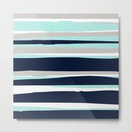 Stripes Abstract Modern Navy Aqua Metal Print