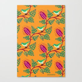 Grevillea and Silvereye Canvas Print