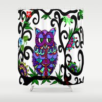 murakami Shower Curtains featuring All Happy Owl by Marcy Murakami