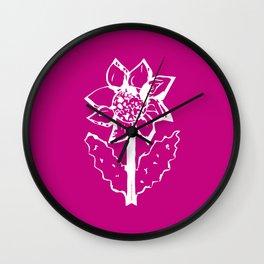 Sunflower white and burgundy pattern Wall Clock