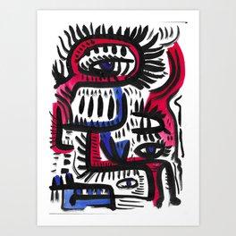 Mystic Red  and Blue Tribal Art by Emmanuel Signorino Art Print