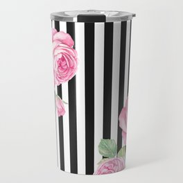 Black white blush pink watercolor floral stripes Travel Mug