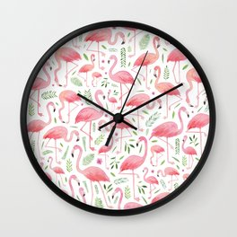 Flamingo Floral Pattern! Wall Clock
