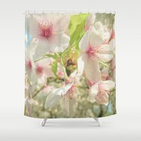 cherry blossom Shower Curtains featuring Cherry Blossom by Cassia Beck