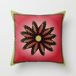 Red Stitched Flower Throw Pillow