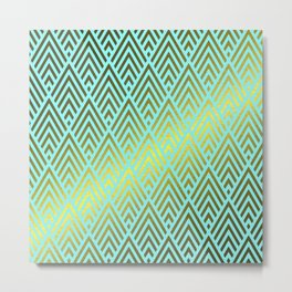 Gold foil triangles on aqua Metal Print