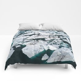 Icelandic glacier icebergs from above - Landscape Photography Comforters