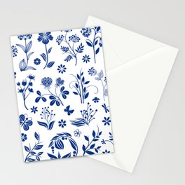 Blue Floral Toile  Stationery Cards