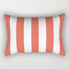 Fire opal pink - solid color - white vertical lines pattern Rectangular Pillow