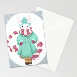 Bunny Sister Out On a Winter Day Stationery Cards