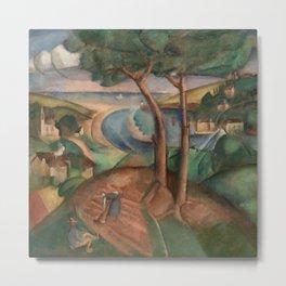 Hilltop River Landscape with estuary landscape painting by Henryk Hayden   Metal Print