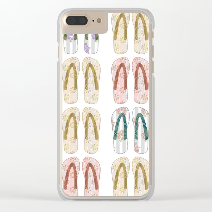 Multi-colored slates, flip-flops Clear iPhone Case