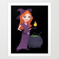 Pretty Witch with Cauldron Art Print