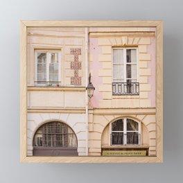 Pastel pink and cream Paris facades Framed Mini Art Print