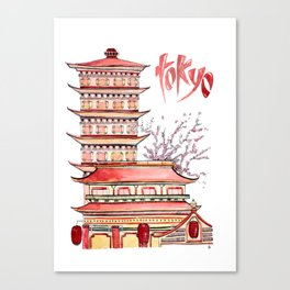 TOKYO - watercolor Canvas Print