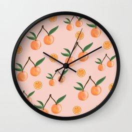 Fruity Oranges Pattern in Peach Pink  Wall Clock