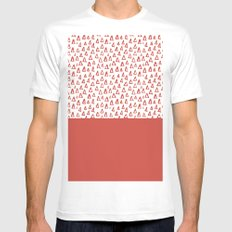 Triangles Fiesta Red MEDIUM Mens Fitted Tee White