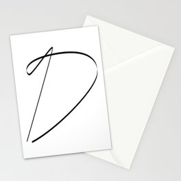 """ Singles Collection "" - One Line Minimal Letter D Print Stationery Cards"