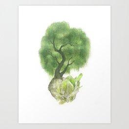 Willow Tree and Spodumene Crystals Art Print
