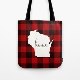 Wisconsin is Home - Buffalo Check Plaid Tote Bag