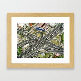 Aerial view of highway Framed Art Print