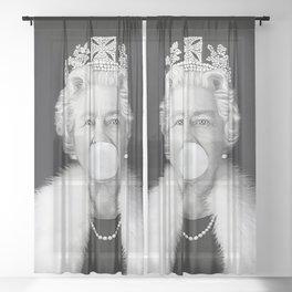 QUEEN ELIZABETH II BLOWING WHITE BUBBLE GUM Sheer Curtain