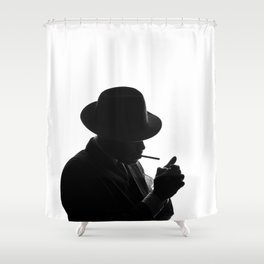 Silhouette of private detective in old fashion hat lights a cigarette Shower Curtain