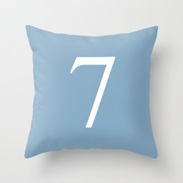 number seven sign on placid blue color background Throw Pillow