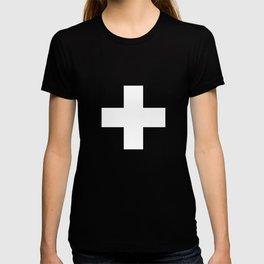 Swiss Cross Black and White Scandinavian Design for minimalism home room wall decor art apartment T-shirt