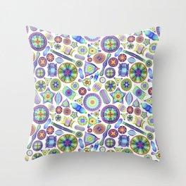 Ernst Haeckel Rainbow Diatom Tossed Throw Pillow