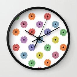 Multicolor Daisy Print Wall Clock