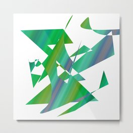 geometrical abstract shapes of green and blue Metal Print