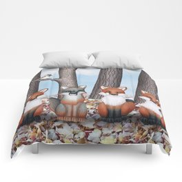 fox friends (with chickadees) Comforters