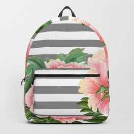 Pink Peonies Grey Stripes Chic Backpack