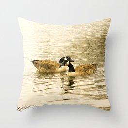 Sepia Geese Throw Pillow