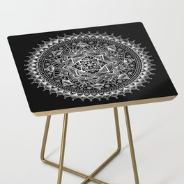 White Flower Mandala on Black Side Table