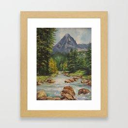 Landscape River and Mountains Framed Art Print