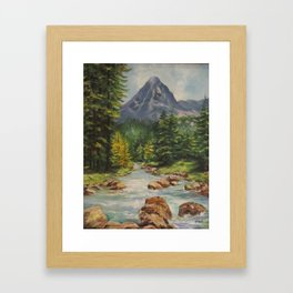 Landscape River and Mountains Framed Art Print